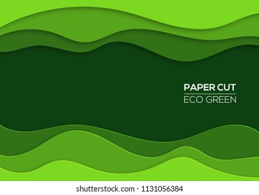 Modern 3d paper cut art template with abstract curve shapes, green color. Eco design concept background for flyers, bunners, presentations and posters. Vector illustration
