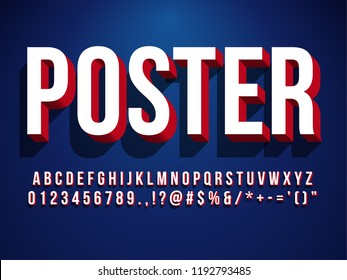 Modern 3d poster font headline and banner tittle Text with shadow and dark blue background