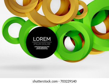Modern 3d ring composition in grey and white space, vector abstract background