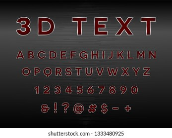Modern 3D Text Red Black Silver With Hexagon Texture.