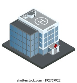 Modern 3d urban hospital building with helipad on the roof isometric isolated vector illustration