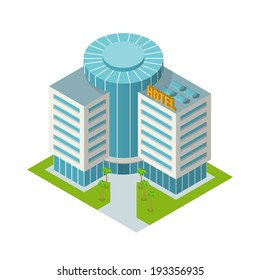 Modern 3d urban hotel building with palm trees isometric isolated vector illustration