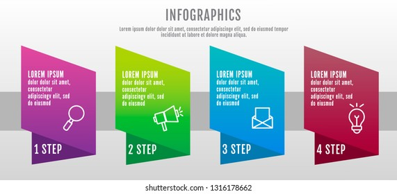 Modern 3D vector illustration data visualization. Infographic template with four elements, options and parts. Designed for business, presentations, web design, interface 4 step diagrams.