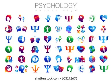 Modern 54 sign Logo Set of Psychology. Profile Human. Creative style. Symbol in vector. Design concept. Green blue orange violet color isolated on white background. Icon for web, logotype