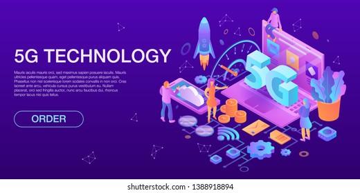 Modern 5G technology concept banner. Isometric illustration of modern 5G technology vector concept banner for web design