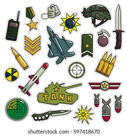 Modern 80s-90s Army Look Fashion Cartoon Illustration Set Suitable for Badges, Pins, Sticker, Patches, Fabric, Denim, Embroidery and Other Fashion Related Purpose