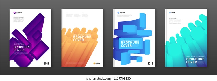 Modern abstarct geometric colourful brochure covers set. Futuristic gradient 3d-shapes concept.