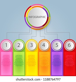 Modern abstract 3D infographic template with six steps for success. Business circle template with options for brochure, diagram, workflow, timeline, web design. Vector EPS 10