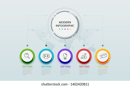 Modern Abstract 3D infographic template. Business circle with options for presentation workflow diagram. Five steps of success. Skill tree timeline theme. Vector Illustration
