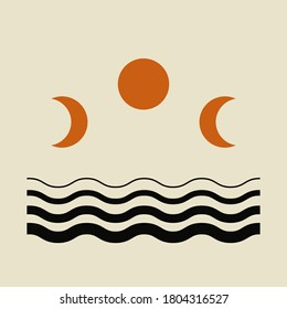 Modern abstract aesthetic background with moon phases and geometric waves. Wall decor in boho style. Mid century minimalist art print. Vector design