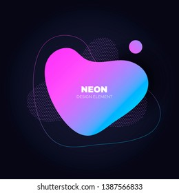 Modern abstract amoeba banner template. Flat gradient pink to blue liquid neon style frame on black background. Template for trendy design of a poster, logo, flyer of presentation. EPS10 Illustration