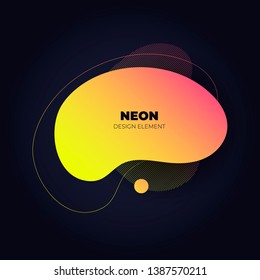 Modern abstract amoeba banner template. Flat gradient yellow to red liquid neon style frame on black background. Template for trendy design of a poster, logo, flyer of presentation. EPS10 Illustration
