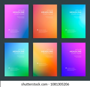 Modern abstract annual report, flyer design, brochure templates set. Vector illustration for business covers, corporate presentation banners. Colorful gradient mesh.