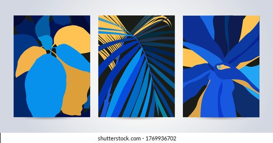Modern abstract art design with exotic leaves in blue and mellow yellow colors. Contemporary art, cards, posters, or magazine covers, packaging and branding design. Trendy summer tropical background