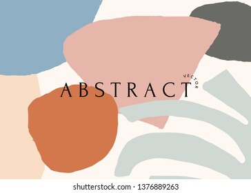 Modern abstract art design with organic shapes in trendy warm colors and sample text. Contemporary collage wall art, flyer, newsletter, magazine cover, packaging and branding design.