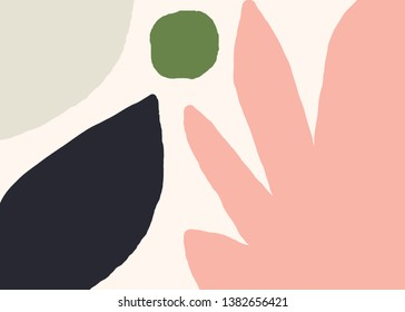 Modern abstract art design with organic shapes in green, blue and pastel pink. Contemporary collage wall art, flyer, newsletter, magazine cover, packaging and branding design.
