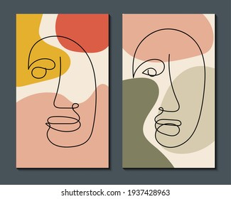 Modern abstract art face. Set of abstract backgrounds with minimal shapes and lines. Home decor design. Hand drawn watercolor effect painting shapes and line art faces. Contemporary boho design.