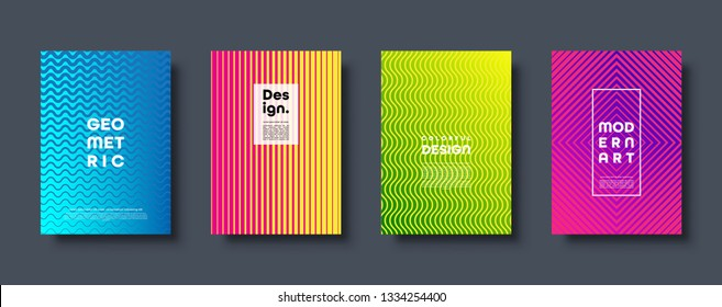 Modern abstract background with geometric shapes and lines. Colorful trendy minimal A4 template cover with acid colors and halftone gradient. EPS 10 vector illustration.