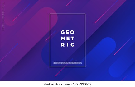 Modern abstract background with geometric shapes and lines. Colorful trendy minimal A4 template cover with acid colors and halftone gradient. EPS 10 vector illustration