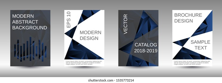 Modern abstract background. A set of modern abstract covers. Creative black triangle element vector. Geometric booklet cover template design.
