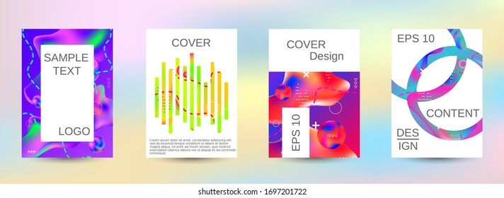Modern abstract background. A set of modern abstract covers. Easily editable soft colored vector illustration. Bright print.