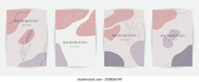 Modern abstract background. Social media stories and post creative Vector set. cover, invitation, banner, placard, brochure, poster, card, flyer and other. Tropical leaves warm color of the earth tone