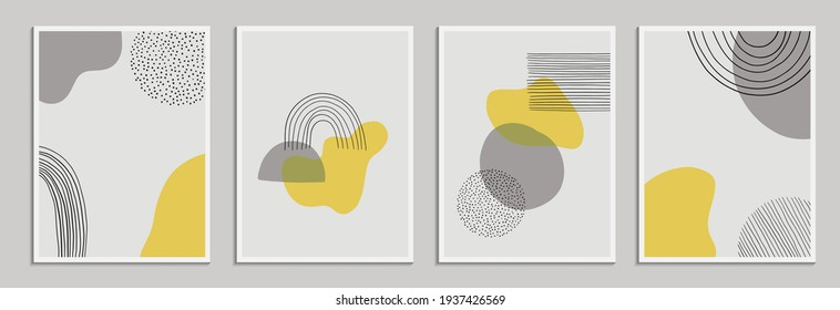 Modern abstract background template for social media, poster, postcard, wall art etc. Abstract shapes and lines. Vector illustration