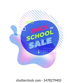 Modern abstract banner. Flat geometric liquid form with various colors. Back to school banner template. Template for the design of a logo, flyer of presentation. Vector.