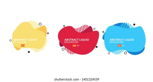 Modern abstract banner set. Flat geometric liquid form with various colors. Modern banner template