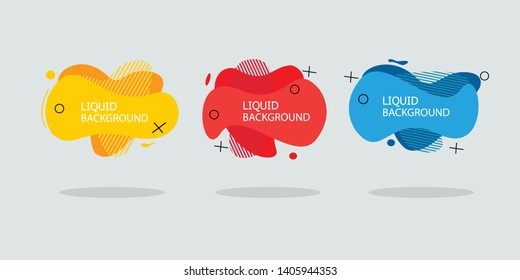 Modern abstract banner set. Flat geometric liquid form with various colors. Modern banner template. Template for the design of a logo, flyer of presentation. - Vector