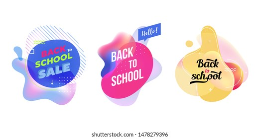 Modern abstract banner set. Flat geometric liquid form with various colors. Back to school banner template. Template for the design of a logo, flyer of presentation. Vector.