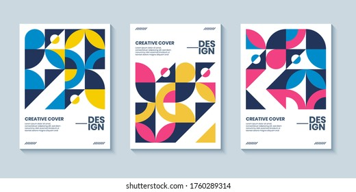 Modern abstract bauhaus colorful covers set, minimal geometric swiss pattern background. Basic shape composition for poster, cover, card