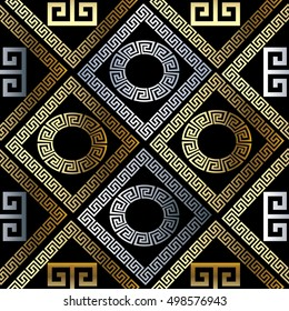 Modern abstract black geometric vector seamless pattern background wallpaper illustration with vintage gold and silver greek key,circles,squares,rhombus,cages and ornaments with shadows and highlights