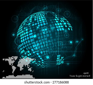 Modern, abstract, blue, black background, backdrop, poster with huge, glossy Earth with pattern and world map, lights