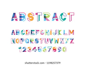 modern abstract bright font and alphabet