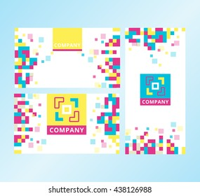 Modern Abstract Business brochure Layout. Brochure template design with colored pixels. Modern layout for business presentation and web. Template with geometric pattern.