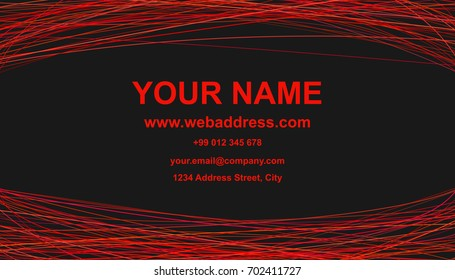Modern abstract business card template design - vector corporate card illustration with red curves on black background