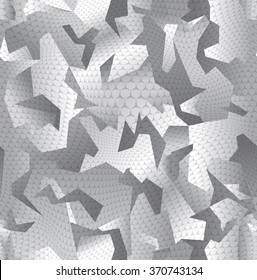 Modern abstract camouflage seamless pattern grey