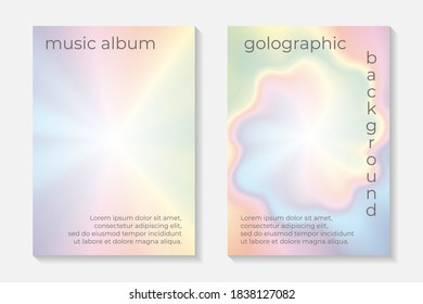 Modern abstract card templates for flyer or poster with holographic or rainbow background.