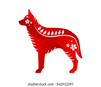 Modern Abstract Chinese Zodiac Animal Illustration, Dog