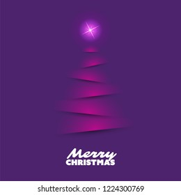 Modern Abstract Christmas Greetings Card Design With Christmas Tree Silhouette