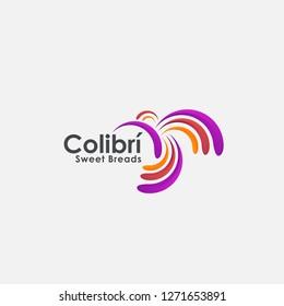 Modern abstract colibri humming bird logo inspiration