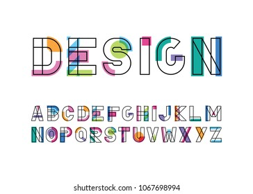 modern abstract color font and alphabet