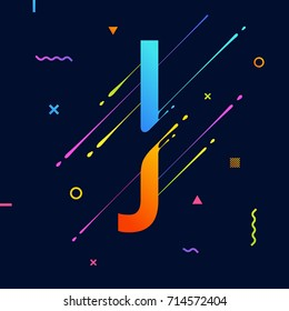 Modern abstract colorful alphabet with minimal design. Letter J. Abstract background with cool bright geometric elements.