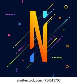Modern Abstract Colorful Alphabet Minimal Design Stock Vector