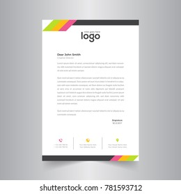 modern abstract colorful letterhead design with clean design