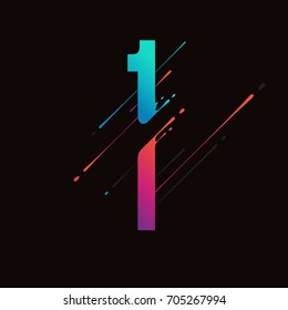 Modern abstract colorful number. Dynamic liquid ink splashes number. Vector design element for your art. Number 1