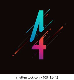 Modern abstract colorful number. Dynamic liquid ink splashes number. Vector design element for your art. Number 4