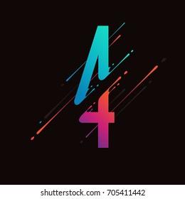 Moderne abstrakte farbige Zahl. Dynamische Flüssigtinte Splash Nummer. Vektordesign-Element für Ihre Kunst. Nummer 4