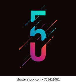 Modern abstract colorful number. Dynamic liquid ink splashes number. Vector design element for your art. Number 5